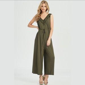 Pants - Ruffle Cross Back Jumpsuit - Olive
